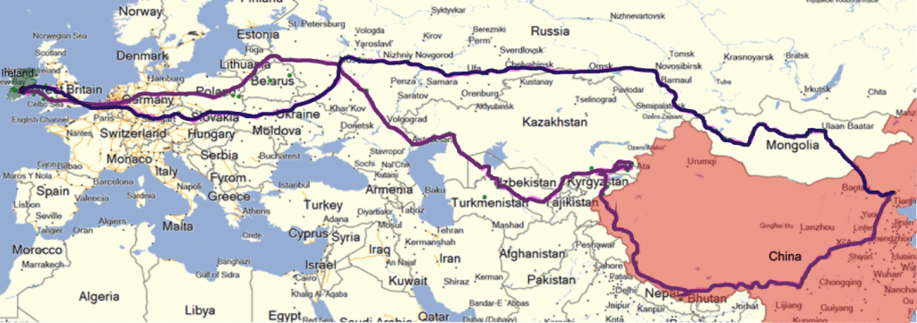 """Inagh to China"" route, February 2015"