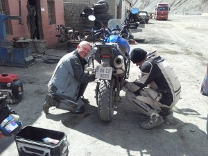 John and Darran replacing the fasteners with bolts